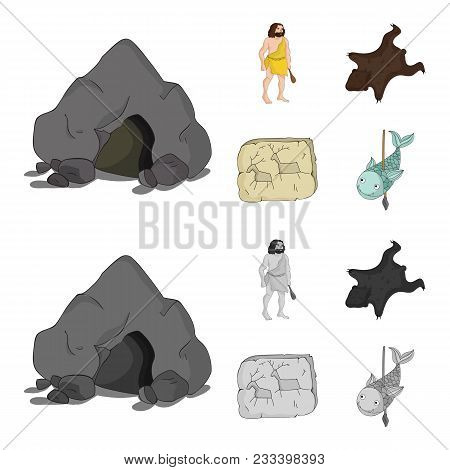 Ancient, World, Stone Age .stone Age Set Collection Icons In Cartoon, Monochrome Style Vector Symbol