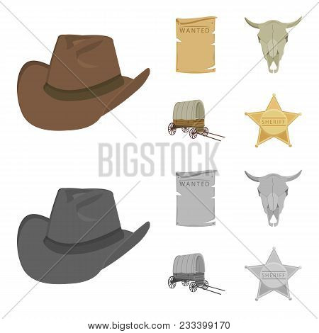Cowboy Hat, Is Searched, Cart, Bull Skull. Wild West Set Collection Icons In Cartoon, Monochrome Sty