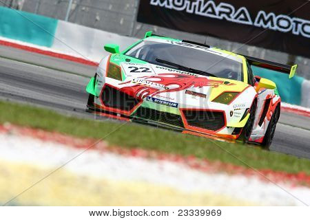 SEPANG - JUNE 17: David TS Lai of Team Clearwater Racing in a Lamborghini LP560 takes to the tracks of the Sepang International Circuit at the GT Asia Series race on June 17, 2011 in Sepang, Malaysia.