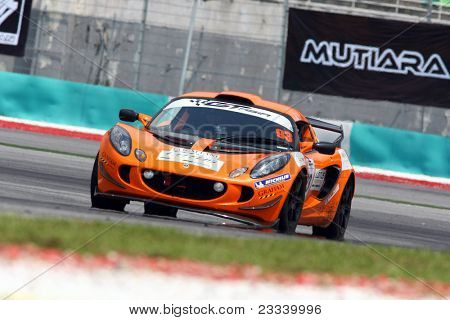 SEPANG - JUNE 17: Chew Ruoh Peng in a Lotus Exige S AM-01takes to the tracks of the Sepang International Circuit at the GT Asia Series race on June 17, 2011 in Sepang, Malaysia.