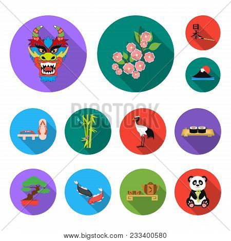 Country Japan Flat Icons In Set Collection For Design.japan And Landmark Vector Symbol Stock  Illust