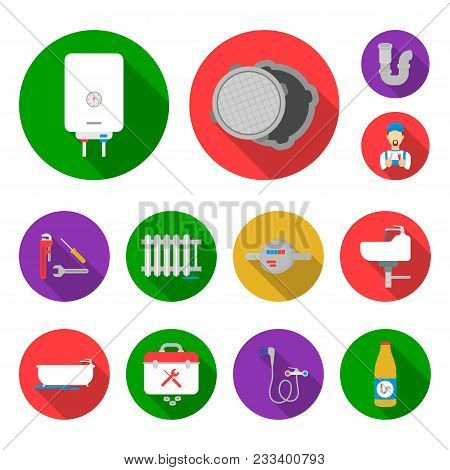 Plumbing, Fitting Flat Icons In Set Collection For Design. Equipment And Tools Vector Symbol Stock