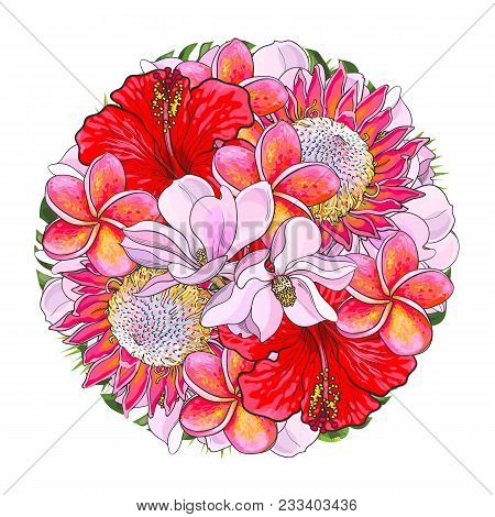 Tropical Flowers In Bouquet Of Sphere Shape Isolated On White Background. Beautiful Sketch Of Floral
