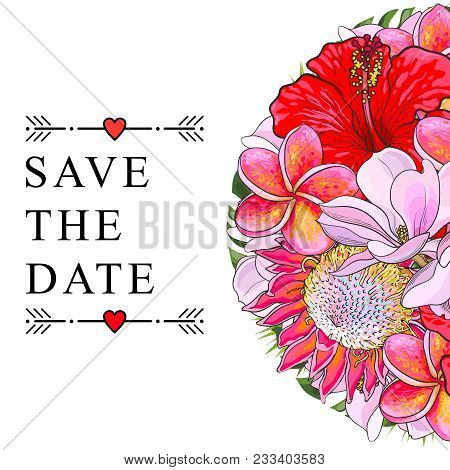 Tropical Flowers For Wedding Invitation Isolated On White Background. Sketch Colorful Exotic Blooms