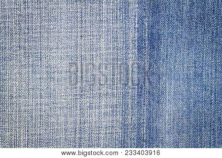 Light Blue Jeans Texture. Denim Jeans Texture, Denim Jeans Background With A Seam. Jeans Fashion Des