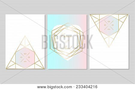 Set Of Trendy Chic Pastel Colored Cards With Gold Geometric Shapes. Abstract Unusual Textures For We