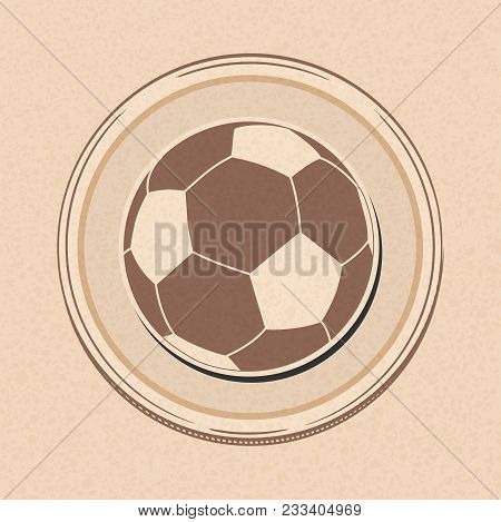 Drawing Style Cartoons Style Football Soccer Ball In A Border Over Brown Paper Background