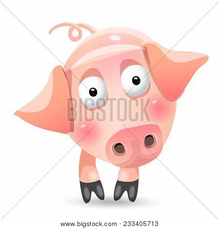 Cartoon Skinny Pig Game Character. Vector Illustration, Clip Art, Isolated On White Background
