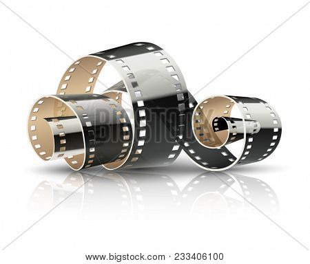 Film tape twisted reel for cinematography movies or photography. Cinema concept isolated on white (transparent) background. Illustration.
