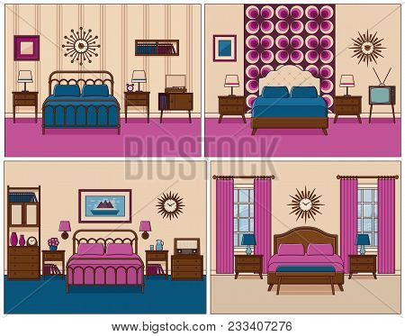 Bedroom Interior. Hotel Rooms With Bed. Vector. Linear Flat Design Illustration. Retro House Furnitu