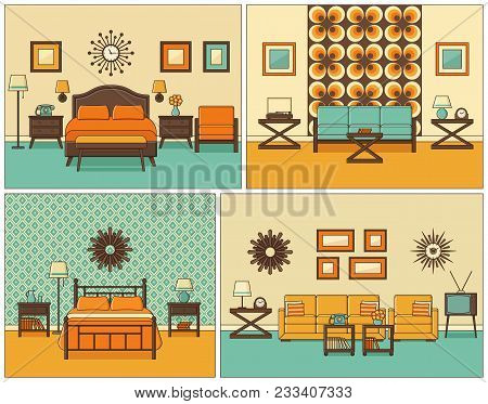 Room Interiors. Vector. Linear Living Room And Bedroom With Furniture. Retro House Scene. Flat Line