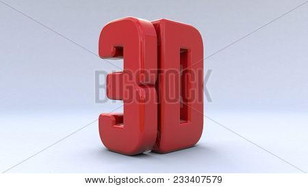 Illustration Large Three-dimensional Logo On A White Isolated Matte Background. Shiny Red Paint. 3d