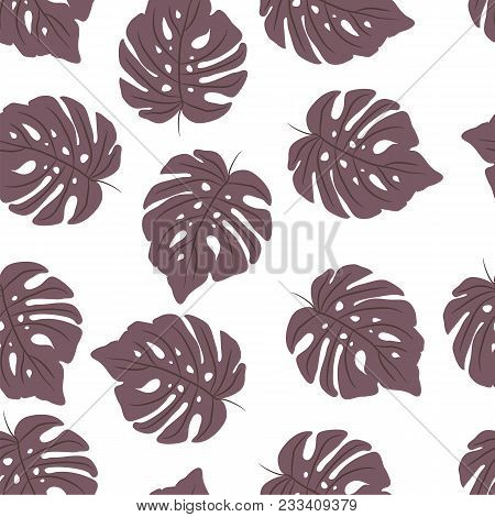 Exotic Tropical Vector Background With Tropical Plants. Seamless Purple Tropical Pattern With Monste