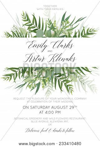 Wedding Invitation, Invite, Save The Date Card Floral Design With Green Tropical Forest Palm Leaves,