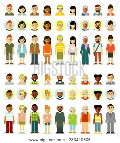 Different Ethnic Smiling Multicultural Persons Icons. Full Length And Avatars. Vector Illustration I