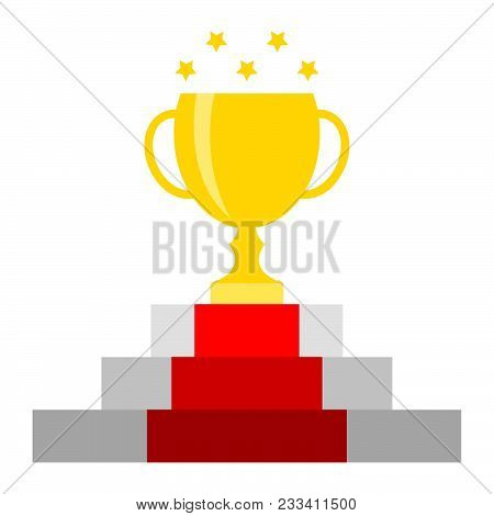 Attainment Success Winner Concept. Victory Sport Or Business Vector Illustration. Gold Cup On Pedest