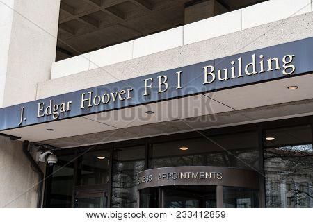 Washington, Dc - March 14, 2018: Front Facade Of The J. Edgar Hoover Fbi Building In Washington Dc