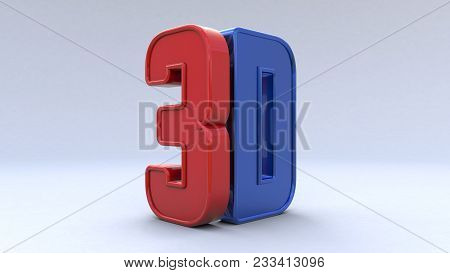 Illustration Large Three-dimensional Logo On A White Isolated Matte Background. Shiny Red And Blue P