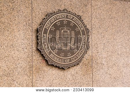 Washington, Dc - March 14, 2018: Seal Of The Federal Bureau Of Investigation On The J. Edgar Hoover