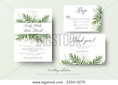 Wedding Invitation, Rsvp, Thank You Cards Floral Design With Green Tropical Forest Palm Leaves, Euca
