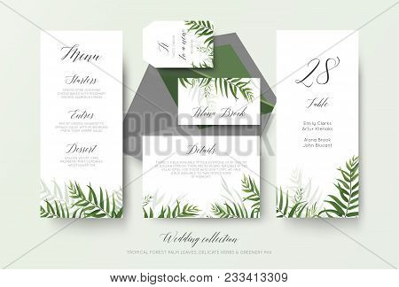 Wedding Menu, Label, Place Card, Details, Table Number Cards Floral Design With Green Tropical Fores