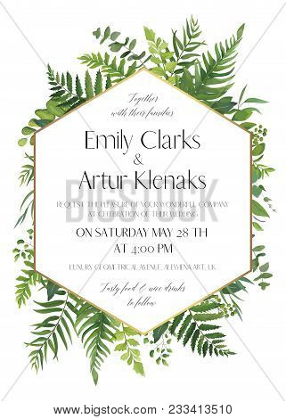 Wedding Floral Invitation, Invite Card. Vector Modern Elegant Design With Natural Botanical Green Fo