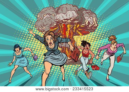 People Run Away From A Nuclear Explosion. Pop Art Retro Vector Illustration Comic Cartoon Kitsch Dra