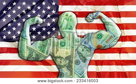 Abstract Business Background. Concept Of Powerful United States American Dollar. United States Flag