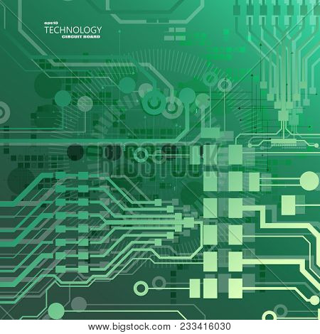 Vector Circuit Board Illustration. Abstract Technology. Microchip Background. Eps 10.