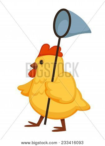 Yellow Fluffy Chicken Walks With Nettle On Long Stick. Plump Domestic Bird Goes To Catch Butterflies