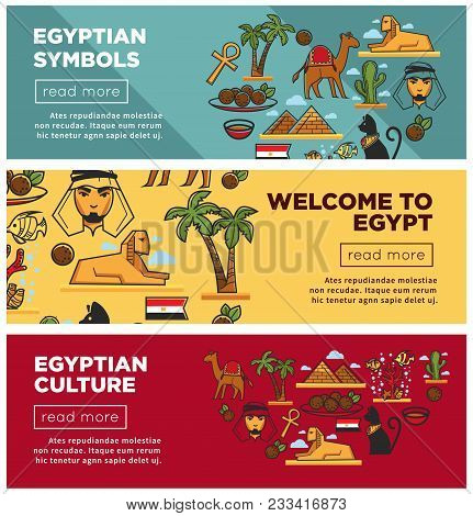 Egyptian Symbols And Culture Promotional Internet Banners Set. Famous Pyramids And Sphinx, Cat Statu