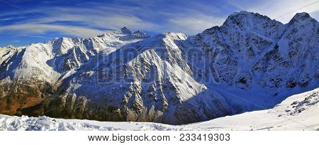 Mountain Panorama Of Caucasus Mountains. Russia, Kabardino-balkarian Republic.