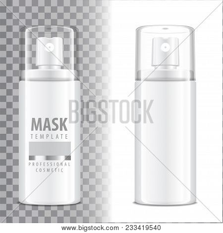 Cosmetic Spray Bottle. Dispenser For Cream, Balsam And Other Cosmetics. With Lid And Without. Vector