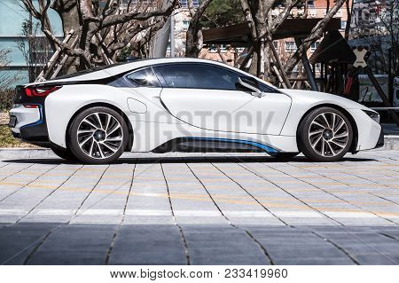 Busan, Republic Of Korea - March 17, 2018: White I8 Plug-in Hybrid Sports Car Developed By Bmw, Side
