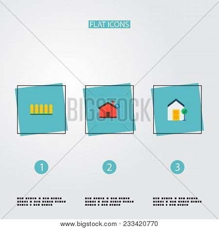 Set Of Realestate Icons Flat Style Symbols With Good Property, Fence, Mortgage And Other Icons For Y