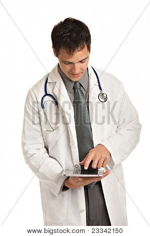 Friendly Young Doctor Holding a Touch Pad Tablet PC on Isolated White Background