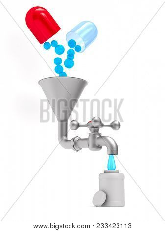 faucet and medicament on white background. Isolated 3D illustration