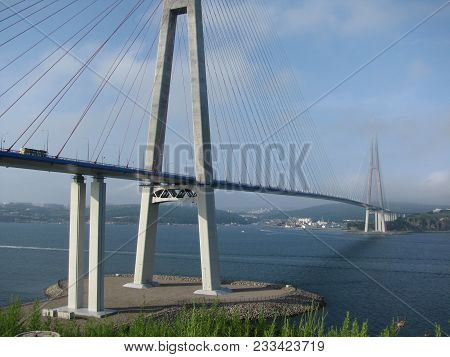 A Cable-stayed Bridge. City High Bridge Across The Bay. The Russky Bridge Russian Bridge Is A Bridge