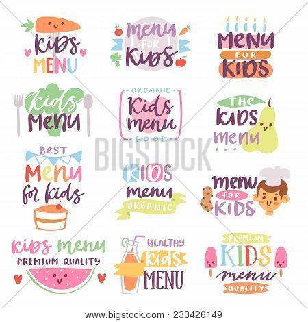 Kids Menu Sign Vector Illustration Lettering Template For Childs Food Or Meal In Childish Cafe Or Re