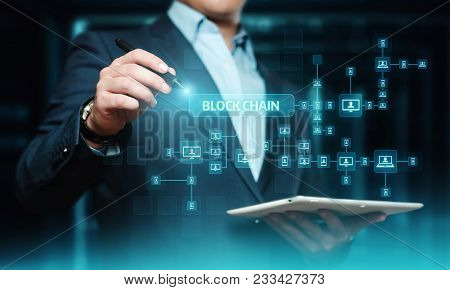 Blockchain Encryption Blocks Security Finance Fintech Network Internet Technology Concept.