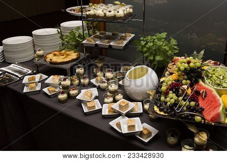 Wedding Buffet With Cuisine Culinary Dinner Catering Dining Food Celebration Party. All You Can Eat