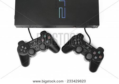 Taipei, Taiwan - February 18, 2018: A Studio Shot Of A Sony Playstation 2 Gaming System With Two Con