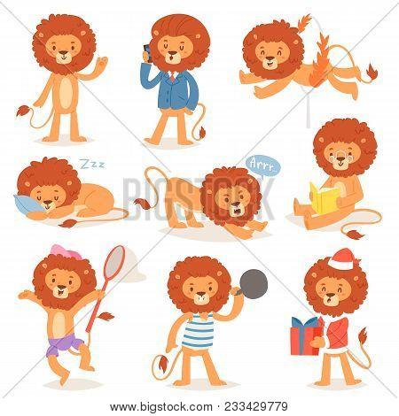 Cartoon Lion Vector Kids Leo Character Of Wild Child Animal Playing Reading Or Sleeping Illustration