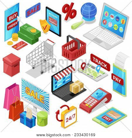 Online Shopping Vector E-commerce Technology With Digital Payment In Internet Shop And Pos Terminal