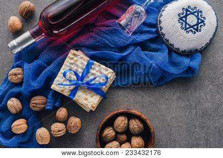 Top View Of Matza, Kippah And Wine, Pesah Celebration Concept