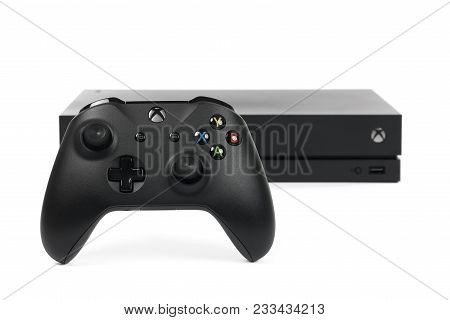 Taipei, Taiwan - February 20, 2018: A Close-up Studio Shot Of A Microsoft Xbox One X Controller And