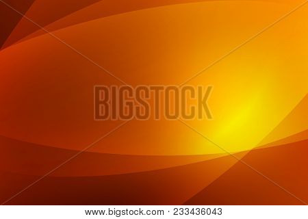 Abstract Dark Orange And Yellow Background Of Abstrack With Curves Wave Line Overlay. Orange Light L