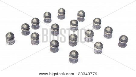 Close up of airgun bullets