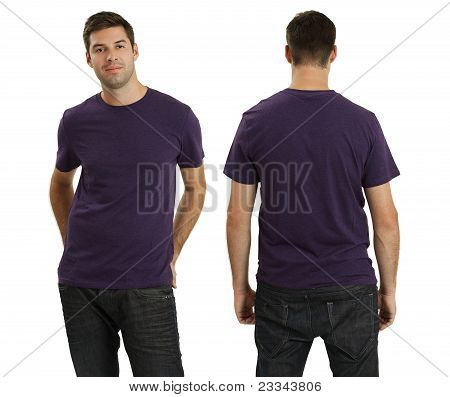 Male Wearing Blank Purple Shirt
