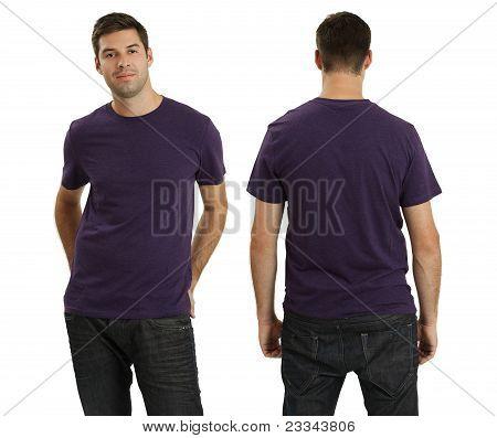 Male Wearing Blank Purple Shirt